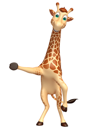tall grass: 3d rendered illustration of pointing Giraffe cartoon character Stock Photo