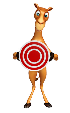 zoo dry: 3d rendered illustration of Camel cartoon character with target