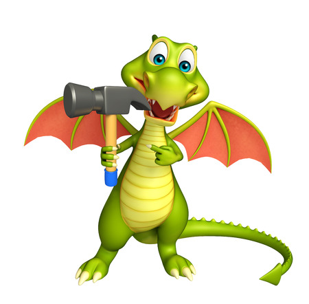 3d dragon: 3d rendered illustration of Dragon cartoon character with hammer