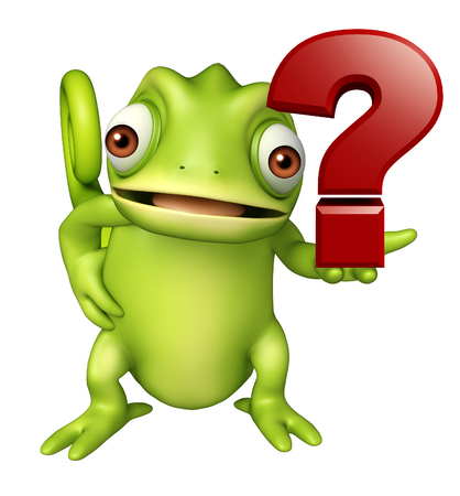 3d rendered illustration of Chameleon cartoon character with question mark sign