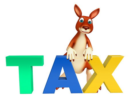 obligation: 3d rendered illustration of Kangaroo cartoon character with tax sign Stock Photo