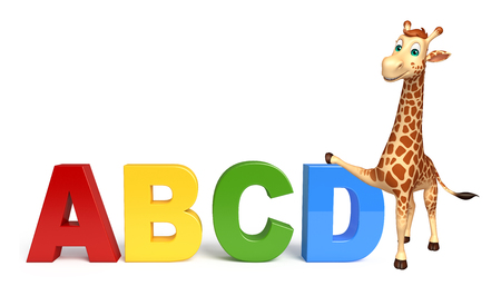 tall grass: 3d rendered illustration of Giraffe cartoon character with abcd sign