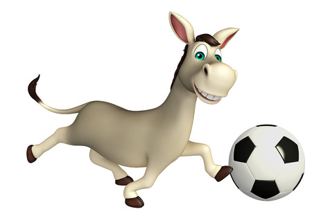 ears donkey: 3d rendered illustration of Donkey cartoon character with football