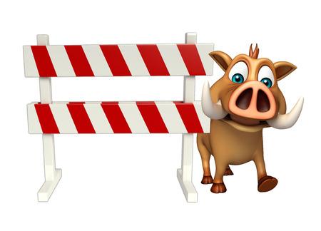 signos de precaucion: 3d rindió la ilustración de personaje de dibujos animados de jabalí con baracades Foto de archivo
