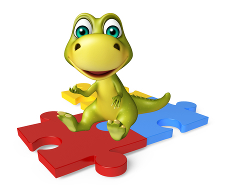 jig saw puzzle: 3d rendered illustration of Dinosaur cartoon character with puzzle