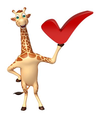 3d rendered illustration of Giraffe cartoon character with right sign