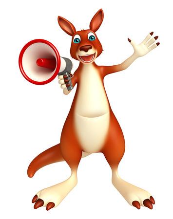 loud speaker: 3d rendered illustration of Kangaroo cartoon character with loud speaker Stock Photo