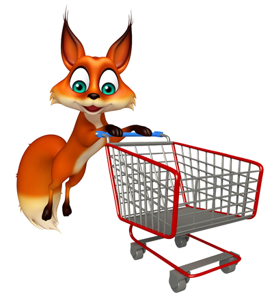 trolly: 3d rendered illustration of Fox cartoon character with trolly