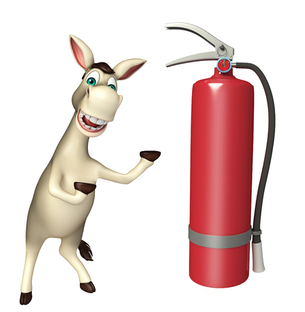 cuteness: 3d rendered illustration of Donkey cartoon character with extinguisher