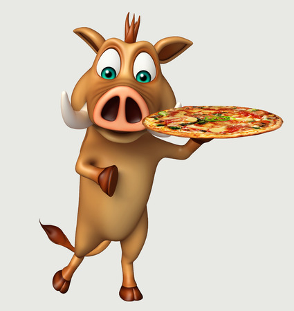 3d pizza: 3d rendered illustration of Boar cartoon character with pizza Stock Photo