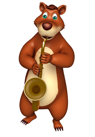 plushy: 3d rendered illustration of Bear cartoon character with saxophone