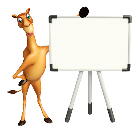zoo dry: 3d rendered illustration of Camel cartoon character with white board Stock Photo