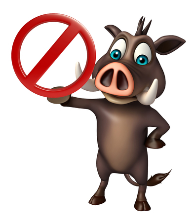drive ticket: 3d rendered illustration of Boar cartoon character with stop sign