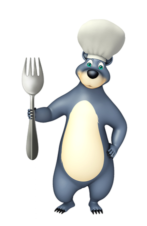 plushy: 3d rendered illustration of Bear cartoon character  with spoons