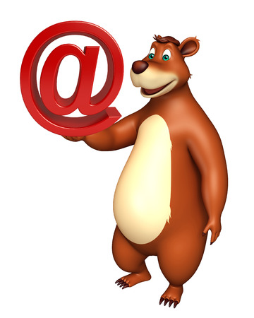 plushy: 3d rendered illustration of Bear cartoon character with at the rate sign