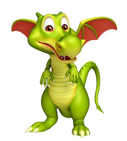 brandweer cartoon: 3d teruggegeven illustratie van Dragon grappige cartoon karakter