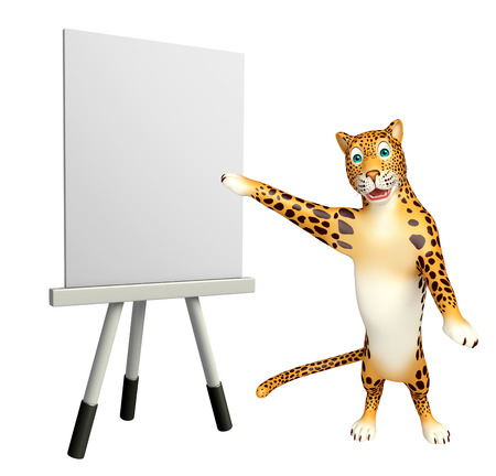 veg: 3d rendered illustration of Leopard cartoon character with easel board