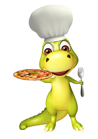 pizza place: 3d rendered illustration of Dinosaur cartoon character with pizza and spoons Stock Photo