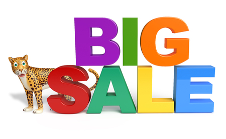 non stock: 3d rendered illustration of Leopard cartoon character with big sale sign