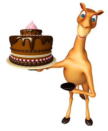 zoo dry: 3d rendered illustration of Camel cartoon character with cake