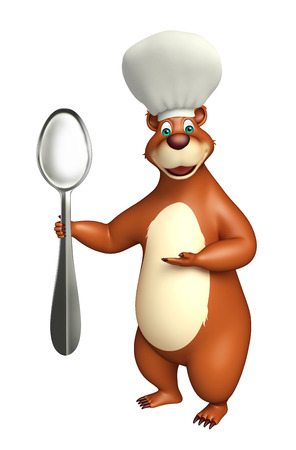 plushy: 3d rendered illustration of Bear cartoon character with dinner plate and chef hat Stock Photo