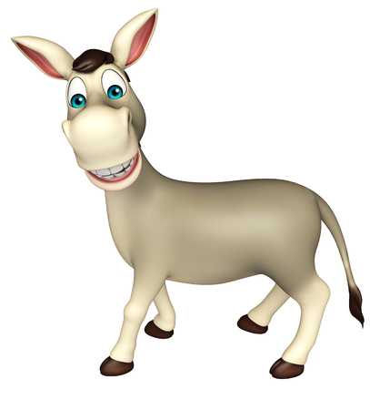 cuteness: 3d rendered illustration of Donkey funny cartoon character Stock Photo