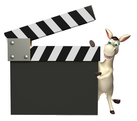 cuteness: 3d rendered illustration of Donkey cartoon character with clapper board Stock Photo