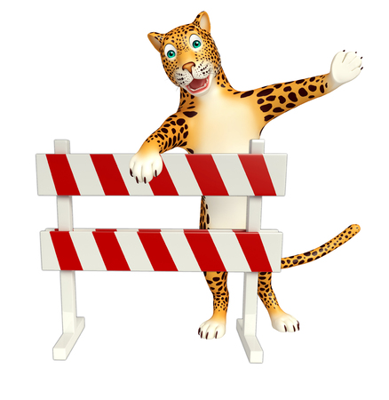 constuction: 3d rendered illustration of Leopard cartoon character with baracade Stock Photo