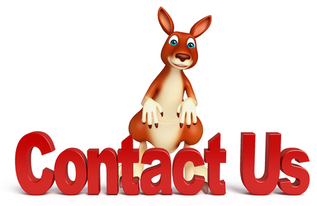 3d contact us: 3d rendered illustration of Kangaroo cartoon character with contact us sign
