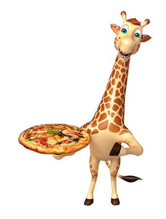 directly: 3d rendered illustration of Giraffe cartoon character with pizza Stock Photo