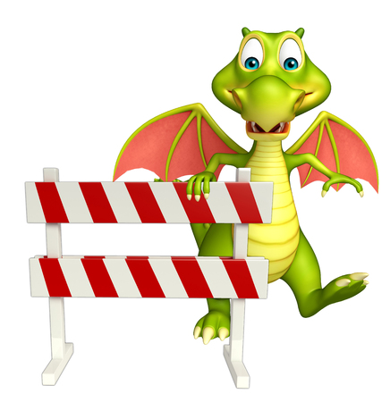 security lights: 3d rendered illustration of Dragon cartoon character with baracade