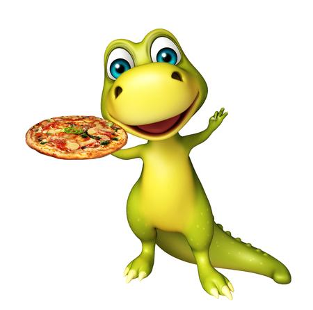 3d übertrug Illustration der Dinosaurierzeichentrickfilm-figur mit Pizza Standard-Bild - 53995716