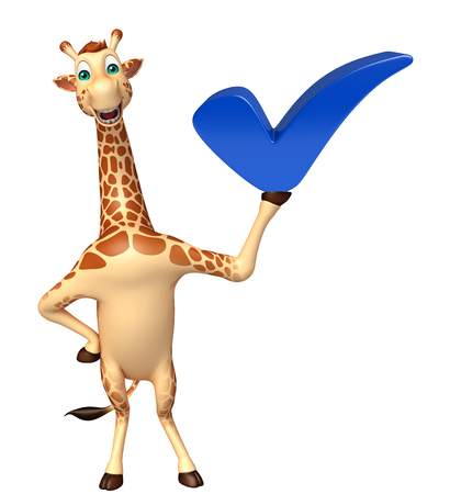 tall grass: 3d rendered illustration of Giraffe cartoon character with right sign