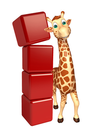 tall grass: 3d rendered illustration of Giraffe cartoon character with level