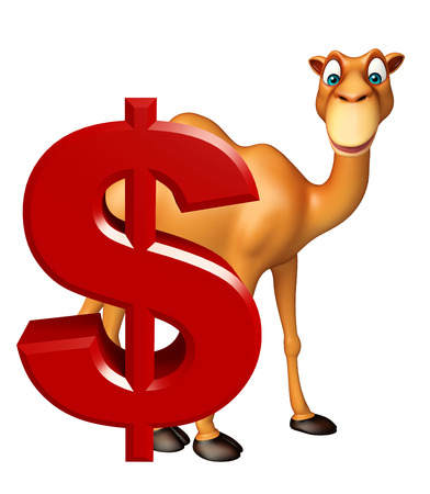 3d rendered illustration of Camel cartoon character with dollar sign Stock Photo