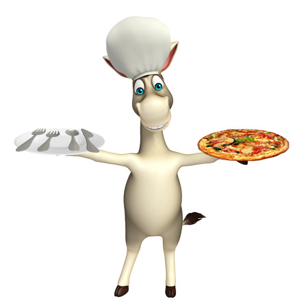 cuteness: 3d rendered illustration of Donkey cartoon character with pizza, dinner plate and chef hat