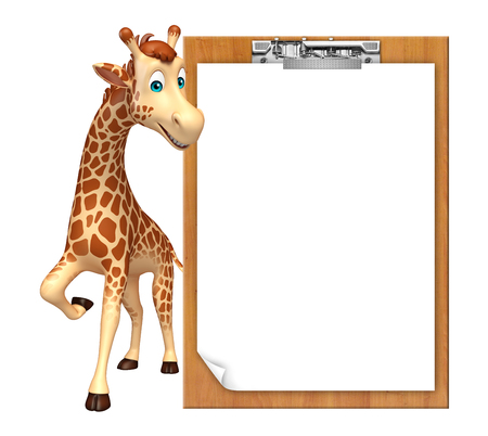 writing pad: 3d rendered illustration of Giraffe cartoon character with exam pad
