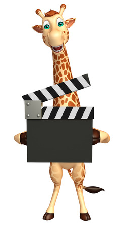 clapboard: 3d rendered illustration of Giraffe cartoon character with clapboard