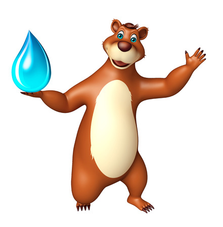 plushy: 3d rendered illustration of Bear cartoon character with water drop Stock Photo