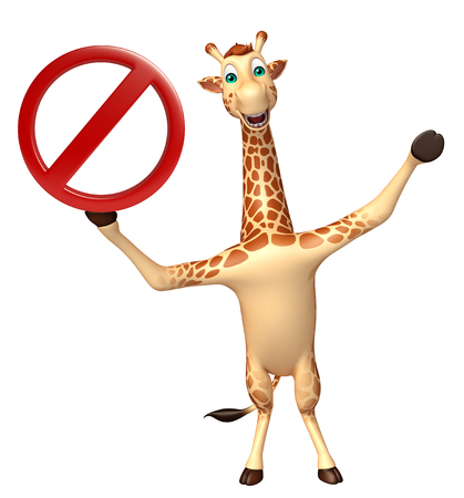 drive ticket: 3d rendered illustration of Giraffe cartoon character with stop sign Stock Photo