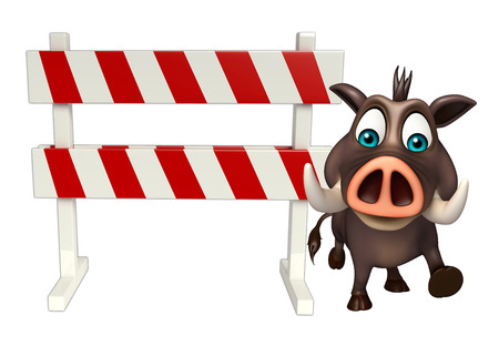 zoo traffic: 3d rendered illustration of Boar cartoon character with baracates