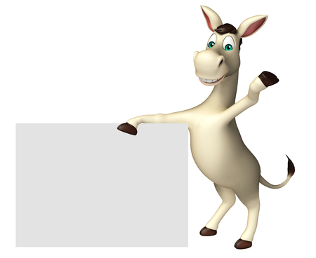 cuteness: 3d rendered illustration of Donkey cartoon character with white board Stock Photo