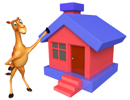 zoo dry: 3d rendered illustration of Camel cartoon character with home Stock Photo