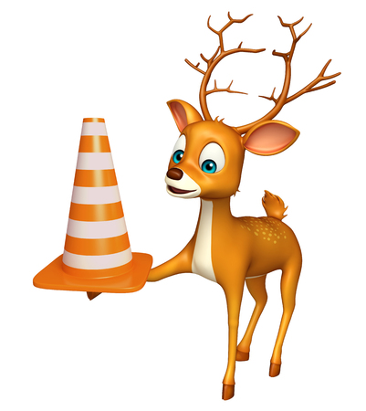zoo traffic: 3d rendered illustration of Deer cartoon character with construction cone