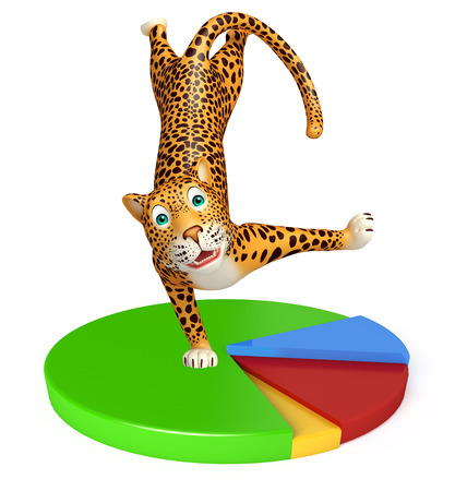 veg: 3d rendered illustration of Leopard cartoon character with circle sign