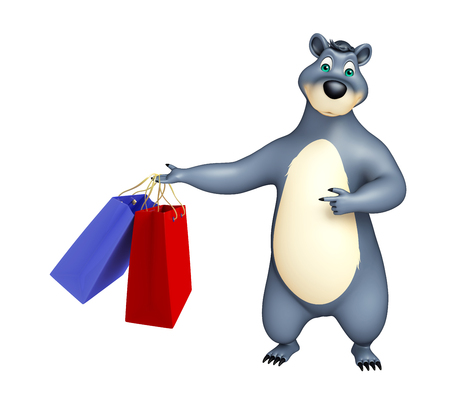 plushy: 3d rendered illustration of Bear cartoon character with shopping bag