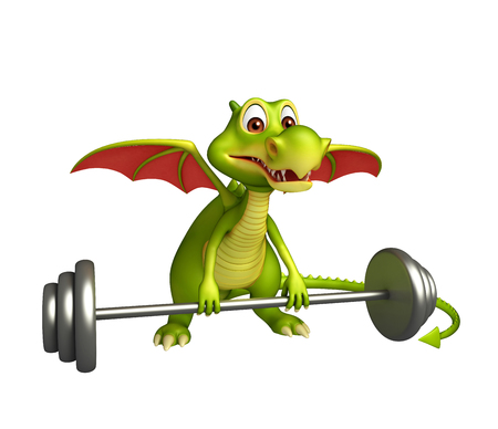 3d rendered illustration of Dragon cartoon character with Gim equipment Stock Photo