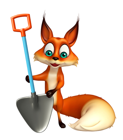 digging: 3d rendered illustration of Fox cartoon character with digging shovel