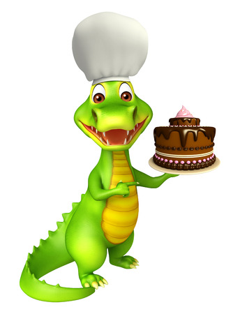 3d chef: 3d Rendered alligator cartoon character with cake and chef hat