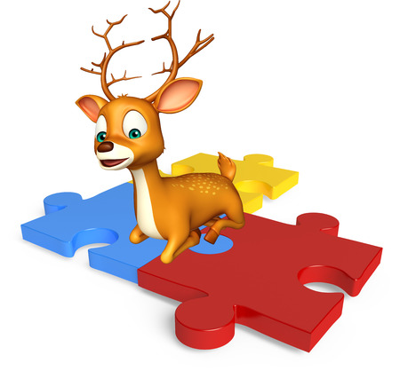 jig saw puzzle: 3d rendered illustration of Deer cartoon character with puzzle